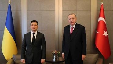 إردوغان مع نظيره الأوكراني (أ ف ب).