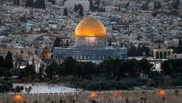 مدينة القدس القديمة وتظهر قبة الصخرة في مجمع المسجد الأقصى (5 نيسان 2021، أ ف ب).