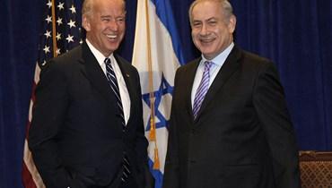"""نائب الرئيس الأميركي حينها جو بايدن يلتقي رئيس الوزراء الإسرائيلي بنيامين نتنياهو في الولايات المتحدة - 2010 - """"أ ب"""""""