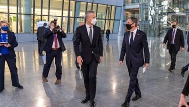 بلينكن مع الأمين العام لحلف الاطلسي ينس ستولتنبرغ (14 نيسان 2021، حساب بلينكن في تويتر).