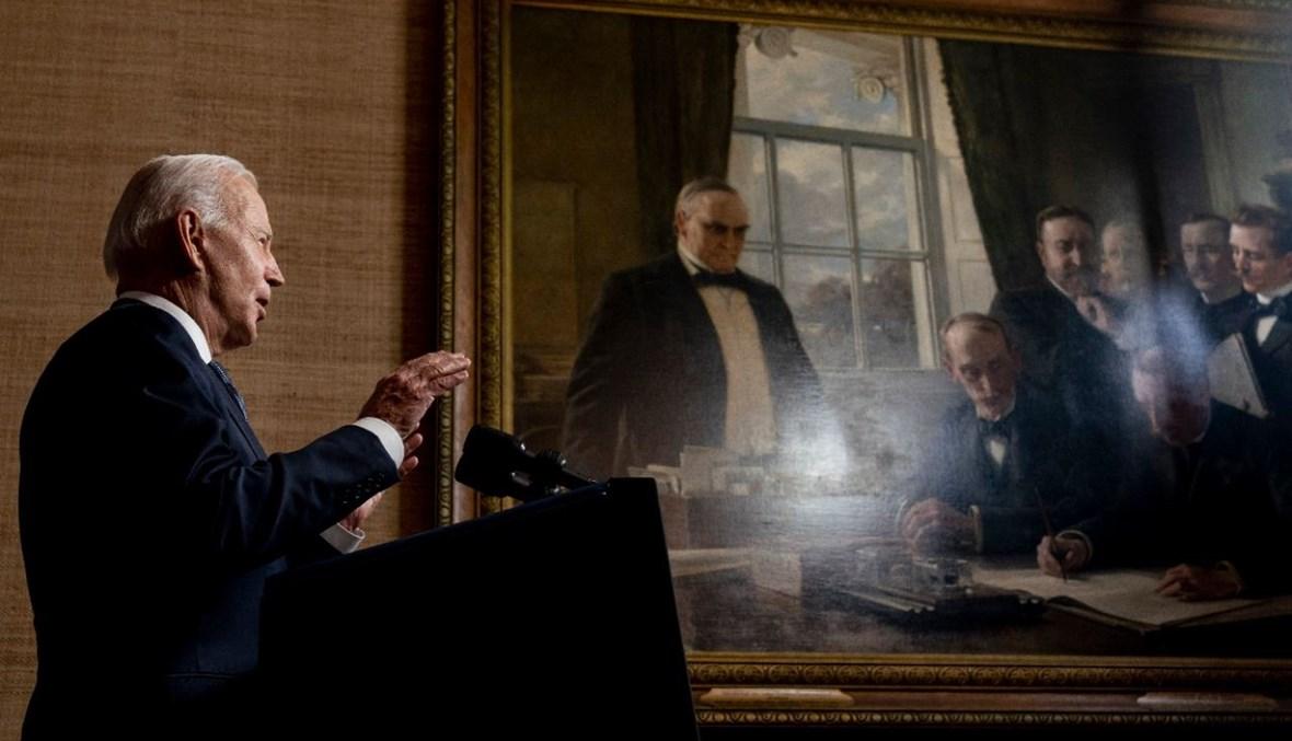 بايدن متكلما في غرفة المعاهدات في البيت الأبيض (14 نيسان 2021، أ ف ب).