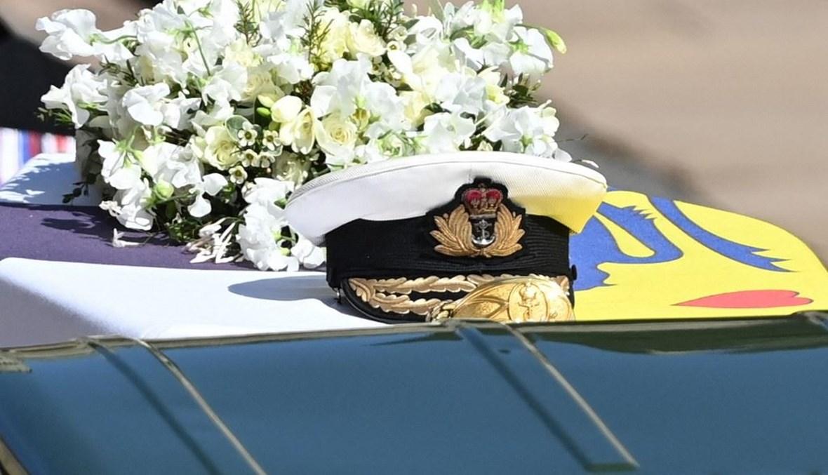 خلال موكب الجنازة الاحتفالي للأمير البريطاني فيليب (أ ف ب).