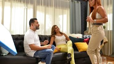 نادين الراسي وهبة نور، مع زياد برجي في لقطة من المسلسل.