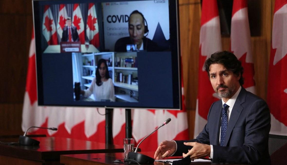 ترودو خلال مؤتمر صحافي في أوتاوا بكندا (16 نيسان 2021، أ ف ب).