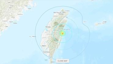 موقع الزلزال في هوالين (من موقع earthquake.usgs.gov).