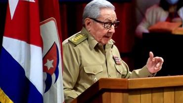 السكرتير الأول للحزب الشيوعي الكوبي راؤول كاسترو يتحدث في افتتاح مؤتمر الحزب في هافانا الجمعة.   (أ ف ب)