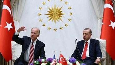 """الرئيس التركي رجب طيب أردوغان يستضيف نائب الرئيس التركي حينها جو بايدن (أرشيف) - """"أ ف ب"""""""
