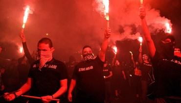 جماهير الأنصار تحتفل بالفوز (حسام شبارو).