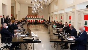رئيس الجمهورية ميشال عون مترئسا الاجتماع الامني الذي ناقش عملية تهريب المخدرات الى السعودية.