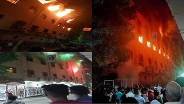 بعد صلوات الجمعة العظيمة... حريق هائل في كنيسة مار مينا بمصر (صور)