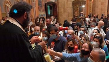 قداس عيد الفصح في كنيسة ما رجاورجيوس في بيروت. (مارك فياض).