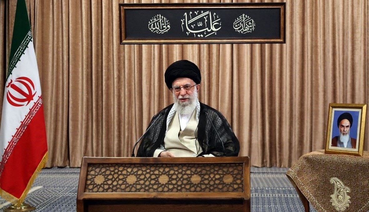 مرشد الجمهورية الاسلامية الإيرانية آية الله علي خامنئي خلال خطابه المتلفز الأحد. (أ ف ب)