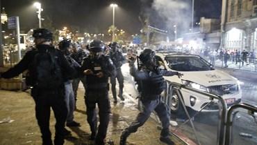 من المواجهات بين الفلسطينيين والقوات الإسرائيلية (أ ف ب).