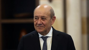 وزير الخارجية الفرنسي جان إيف لودريان في قصر بعبدا خلال زيارته السابقة (أ ف ب).