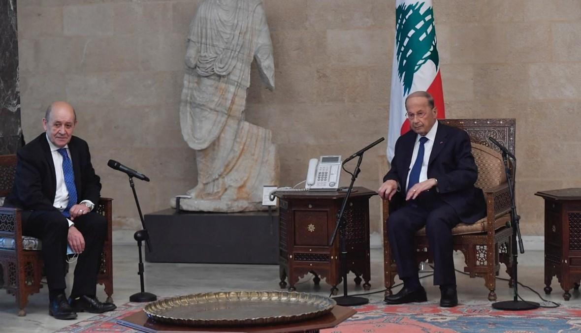 الرئيس ميشال عون  ووزير الخارجية الفرنسي جان - إيف لودريان