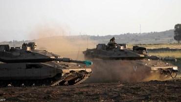 صورة من الارشيف لدبابات خلال مناورات اسرائيلية.