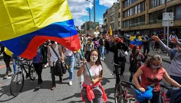 خلال تظاهرة احتجاجية في بوغوتا (9 ايار 2021، ا ف ب).