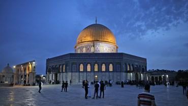 من ساحة المسجد الأقصى (أ ف ب).
