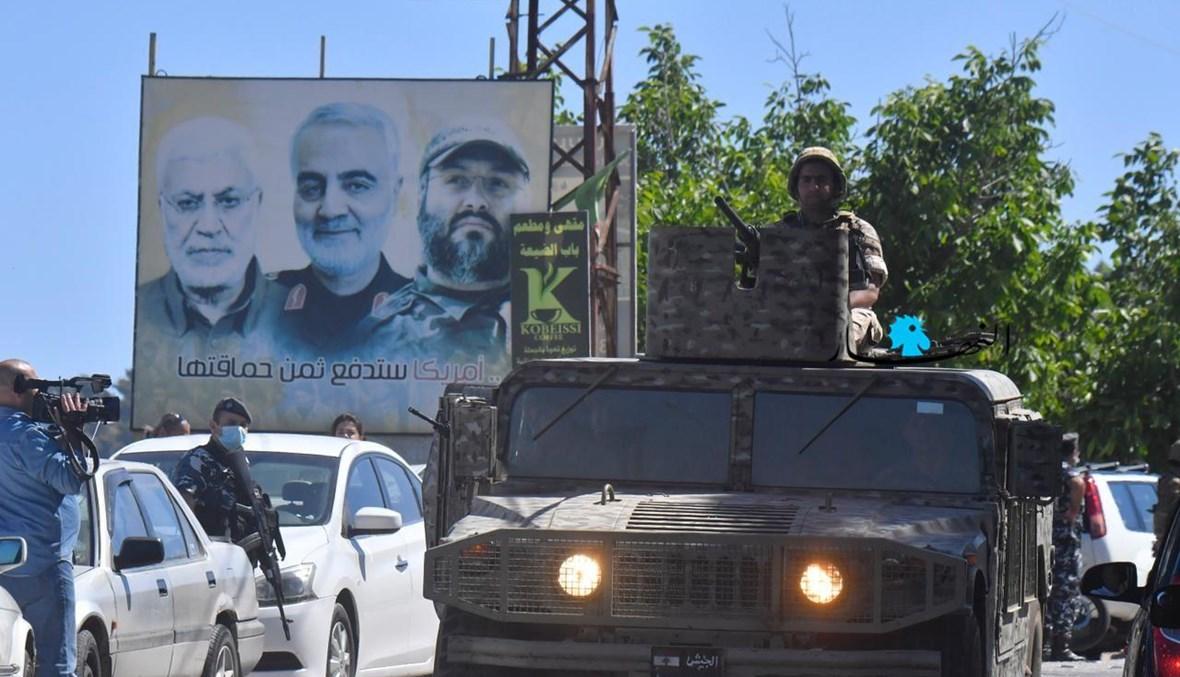 آلية للجيش عند الحدود في كفركلا تزامناً مع تحركات مناصرة لفلسطين (نيل امساعيل).
