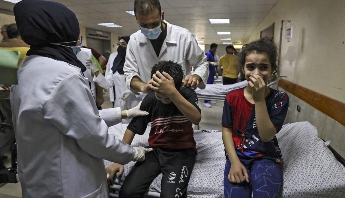 أطفال جرحى في غزة (أ ف ب).