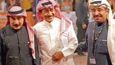المخرج الراحل عبدالخالق الغانم برفقة ناصر القصبي وعبدالله السدحان.