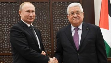"""الرئيس الفلسطيني محمود عباس والرئيس الروسي فلاديمير بوتين، كانون الثاني 2020 - """"أ ب"""""""