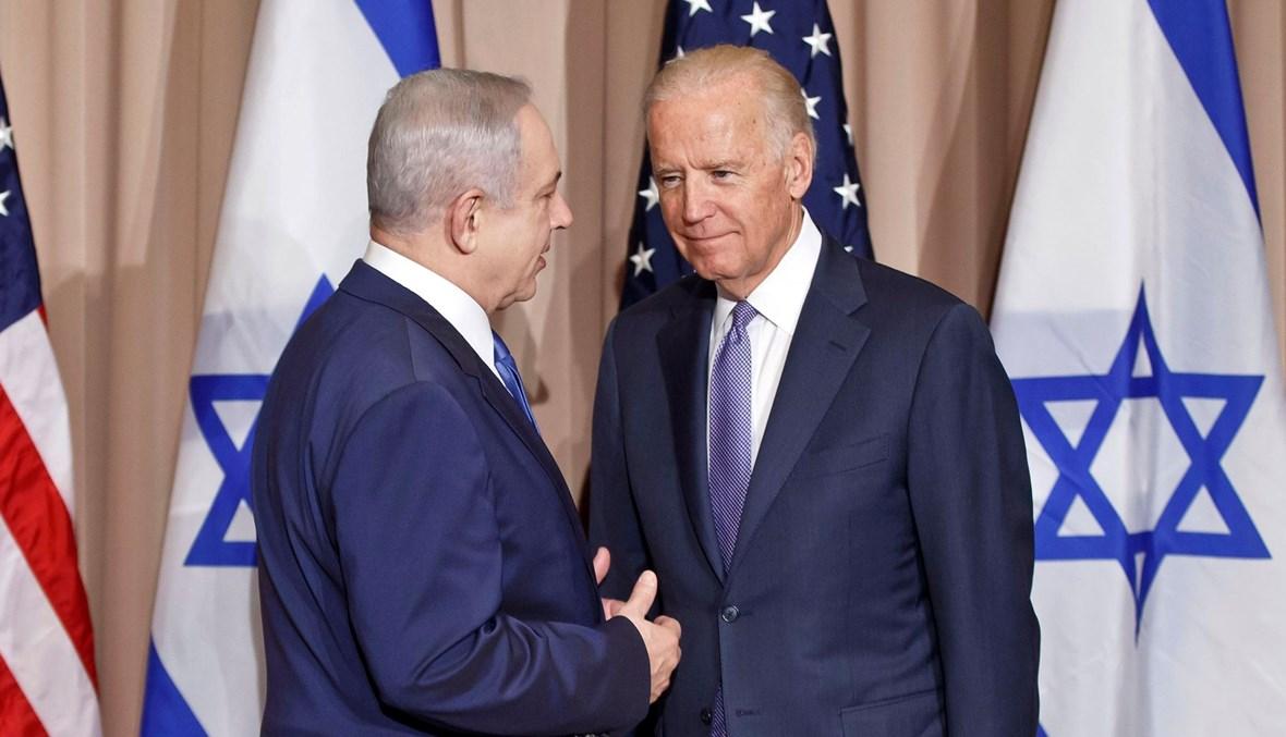 """الرئيس الأميركي جو بايدن ورئيس الوزراء الإسرائيلي بنيامين نتنياهة (أرشيف) - """"أ ب"""""""