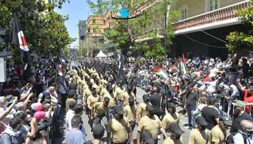 """من احتفال الجزب """"القومي السوري"""" في الحمرا اليوم (نبيل إسماعيل)."""