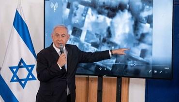 نتنياهو خلال إحاطة للسفراء في إسرائيل في قاعدة الحكيرية العسكرية في تل أبيب (19 ايار 2021، أ ف ب).
