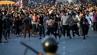 صورة من تظاهرة ساحة التحرير أمس
