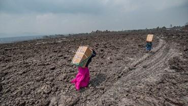 إخلاء جزء من مدينة غوما بسبب بركان نياراغونغو (أ ف ب).