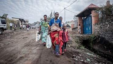 إجلاء سكان من غوما بعد ثوران بركان (أ ف ب).