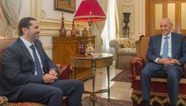 الرئيس نبيه بري يستقبل الرئيس المكلف سعد الحريري امس في مقر اقامة الرئاسة الثانية في عين التينة. (نبيل اسماعيل)