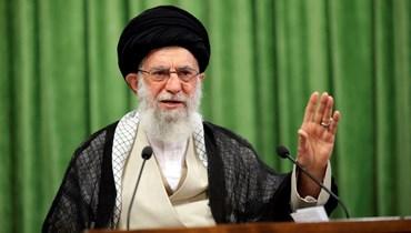 """المرشد الإيراني الأعلى علي خامنئي متحدثاً إلى مجموعة من الطلاب الجامعيين عبر الفيديو، 11 أيار 2021 - """"أ ب"""""""
