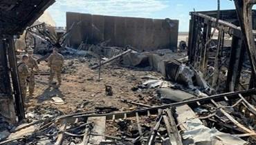 صورة مؤرخة في 13 كانون الثاني 2020لاضرار داخل قاعدة عين الأسد الجوية.(أ ف ب)