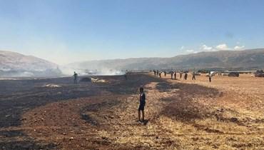 آثار الحريق بين غزة وجب جنين.