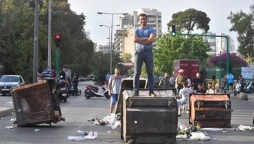 (قطع طريق قصقص (تصوير حسام شبارو.