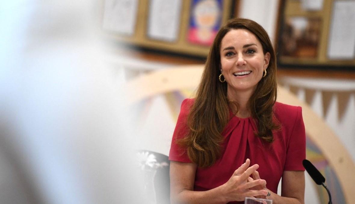 دوقة كامبريدج تشارك في طاولة مستديرة خلال زيارتها لأكاديمية كونور داونز في هيل بكورنوال (11 حزيران 2021، أ ف ب).