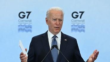 بايدن متكلما خلال مؤتمر صحافي في اليوم الأخير لقمة مجموعة السبع في خليج كاربيس بكورنوال (13 حزيران 2021، أ ف ب).