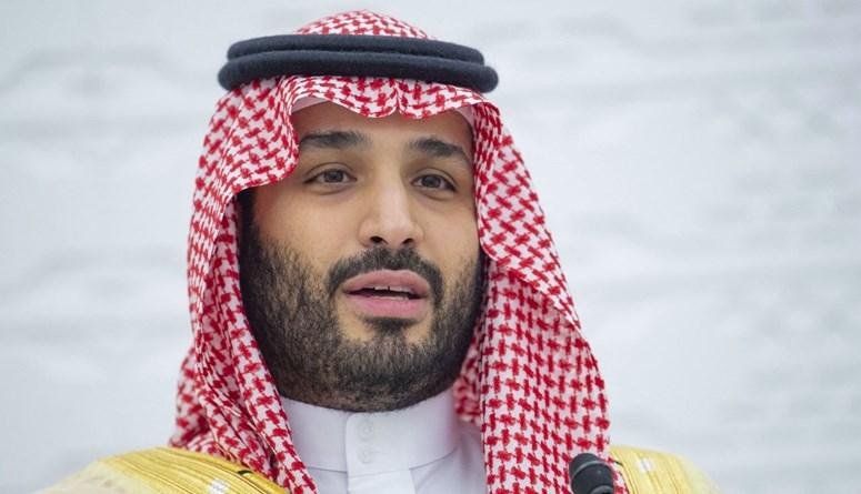 الأمير محمد بن سلمان متكلماً في مؤتمر صحافي عن بعد، في العاصمة الرياض، خلال قمة مجموعة العشرين (22 ت2 2020، أ ف ب).