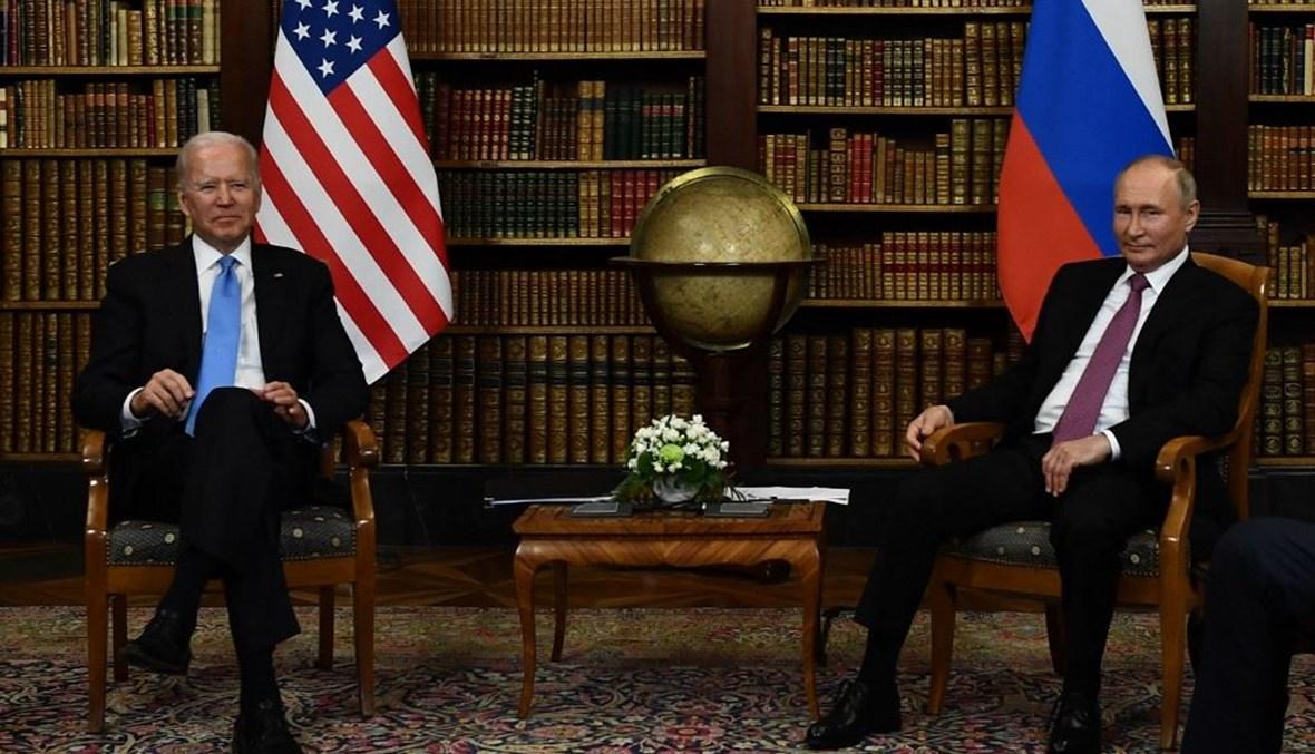 لقاء بوتين وبايدن في جنيف (أ ف ب).