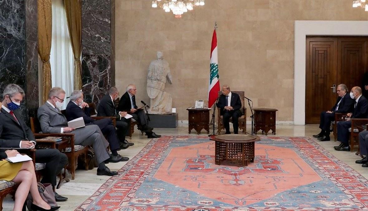 الرئيس عون يستقبل وفد الاتحاد الأوروبي في قصر بعبدا (أ ف ب).