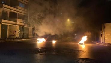 قطع الطريق في ساحة الشهداء.