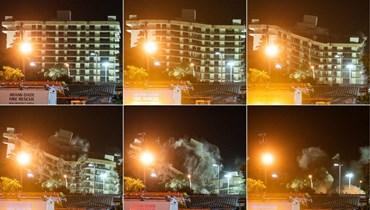 مجموعة صور تظهر هدم المبنى المنهار جزئيا في سورفسايد بفلوريدا شمال ميامي بيتش (4 تموز 2021، أ ف ب).