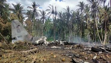 مكان سقوط طائرة الجيش الفلبيني (أ ف ب).
