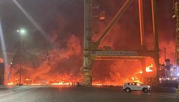 انفجار في مرفأ جبل علي في دبي.