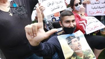 """وقفة لمناصري """"التيار الوطنيّ الحرّ"""" أمام قصر العدل في بيروت (حسن عسل)."""