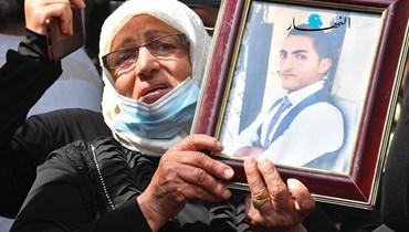 أهالي شهداء المرفأ أمام قصر العدل (تصوير حسام شبارو).