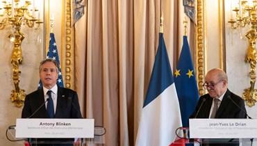 """وزير الخارجية الفرنسي جان-إيف لودريان ونظيره الأميركي أنتوني بلينكن - """"أ ف ب"""""""