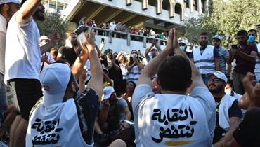 """مجموعة """"النقابة تنتفض"""" خلال اليوم الانتخابي في نقابة المهندسين (حسام شبارو)."""